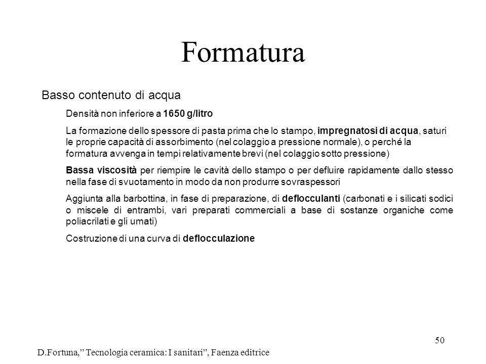 50 Formatura D.Fortuna, Tecnologia ceramica: I sanitari, Faenza editrice Basso contenuto di acqua Densità non inferiore a 1650 g/litro La formazione d