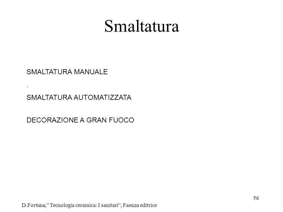 56 Smaltatura D.Fortuna, Tecnologia ceramica: I sanitari, Faenza editrice SMALTATURA MANUALE. SMALTATURA AUTOMATIZZATA DECORAZIONE A GRAN FUOCO