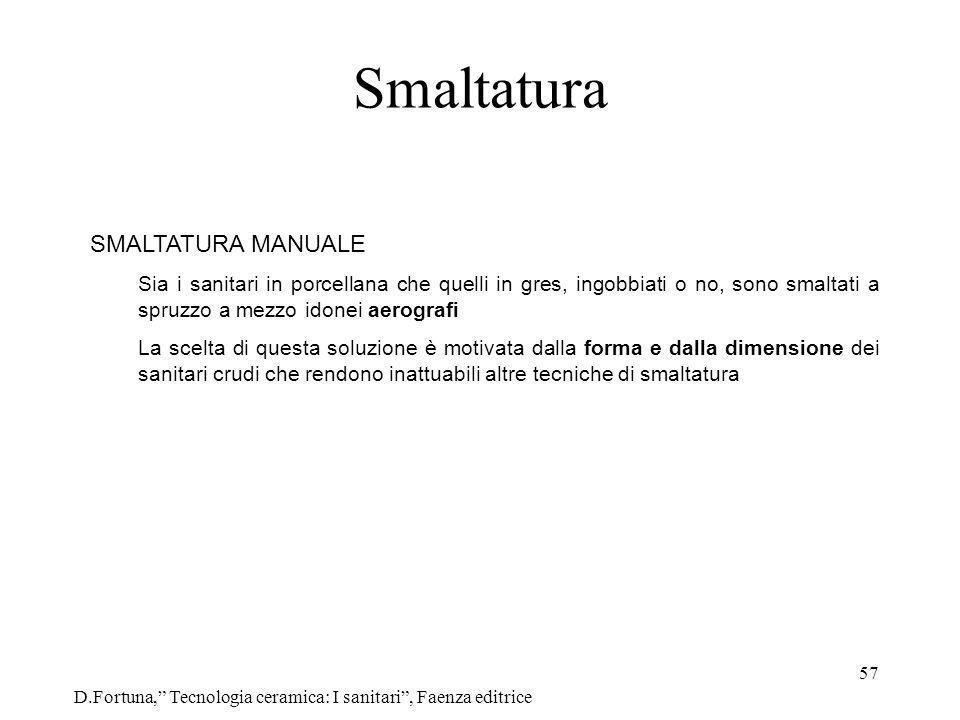 57 Smaltatura D.Fortuna, Tecnologia ceramica: I sanitari, Faenza editrice SMALTATURA MANUALE Sia i sanitari in porcellana che quelli in gres, ingobbia