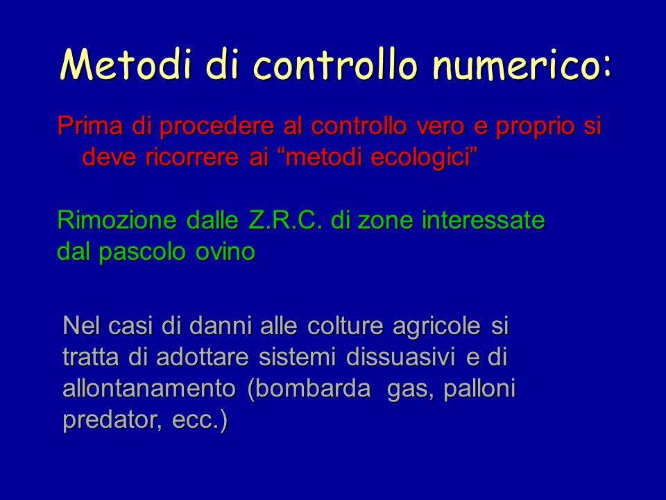 Metodi di controllo numerico: Prima di procedere al controllo vero e proprio si deve ricorrere ai metodi ecologici Rimozione dalle Z.R.C. di zone inte