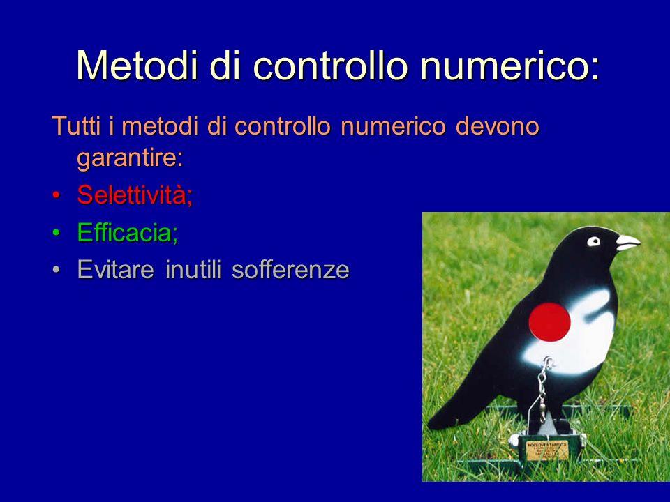 Metodi di controllo numerico: Tutti i metodi di controllo numerico devono garantire: Selettività;Selettività; Efficacia;Efficacia; Evitare inutili sof