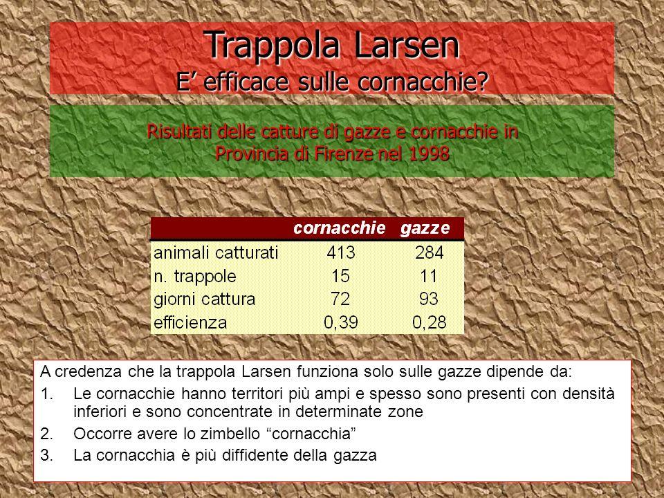 Trappola Larsen E efficace sulle cornacchie? Risultati delle catture di gazze e cornacchie in Provincia di Firenze nel 1998 A credenza che la trappola