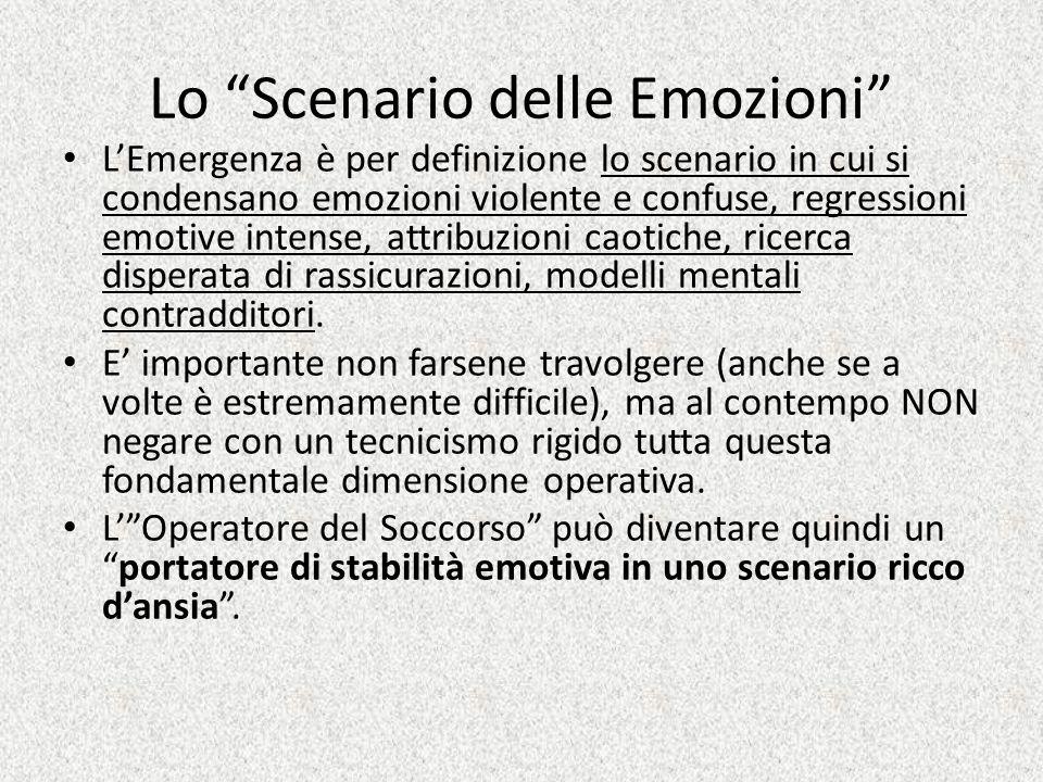 Lo Scenario delle Emozioni LEmergenza è per definizione lo scenario in cui si condensano emozioni violente e confuse, regressioni emotive intense, att