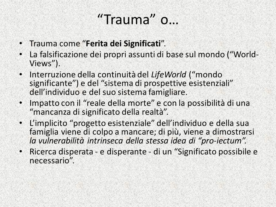 Trauma o… Trauma come Ferita dei Significati. La falsificazione dei propri assunti di base sul mondo (World- Views). Interruzione della continuità del