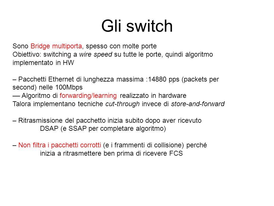 Gli switch Sono Bridge multiporta, spesso con molte porte Obiettivo: switching a wire speed su tutte le porte, quindi algoritmo implementato in HW – P