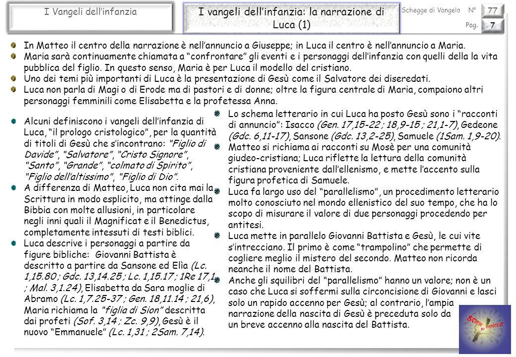 77 I Vangeli dellinfanzia I vangeli dellinfanzia: la narrazione di Luca (2) 8 Pag.