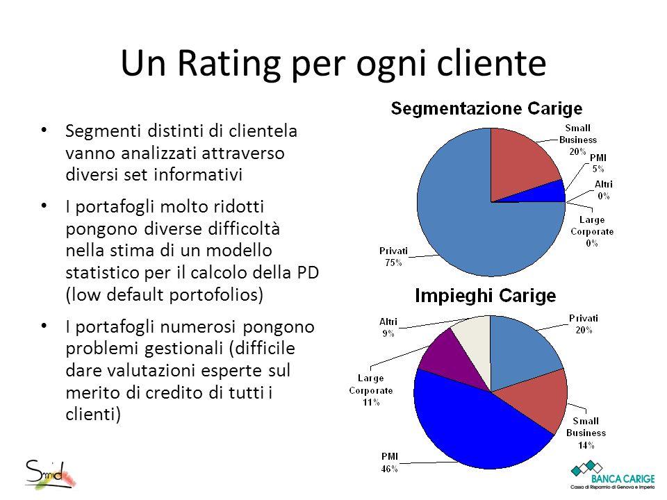 Un Rating per ogni cliente Segmenti distinti di clientela vanno analizzati attraverso diversi set informativi I portafogli molto ridotti pongono diver