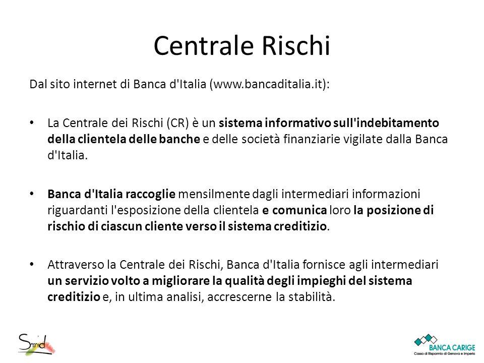 Centrale Rischi Dal sito internet di Banca d'Italia (www.bancaditalia.it): La Centrale dei Rischi (CR) è un sistema informativo sull'indebitamento del