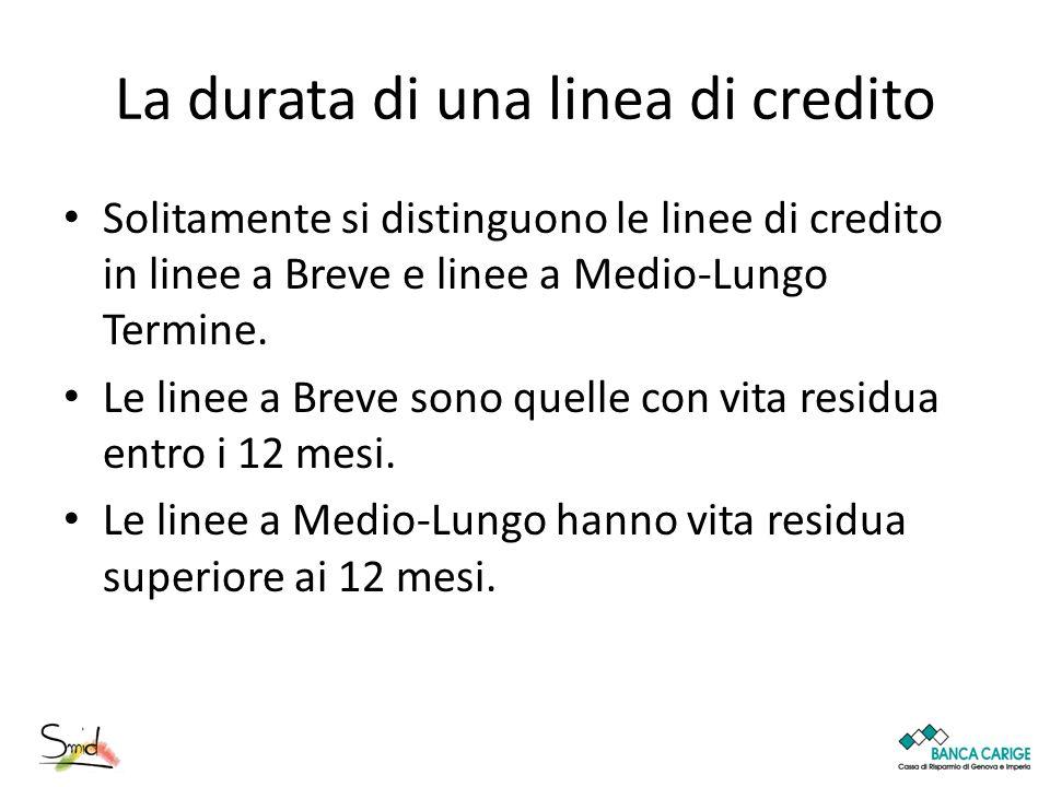 La durata di una linea di credito Solitamente si distinguono le linee di credito in linee a Breve e linee a Medio-Lungo Termine. Le linee a Breve sono
