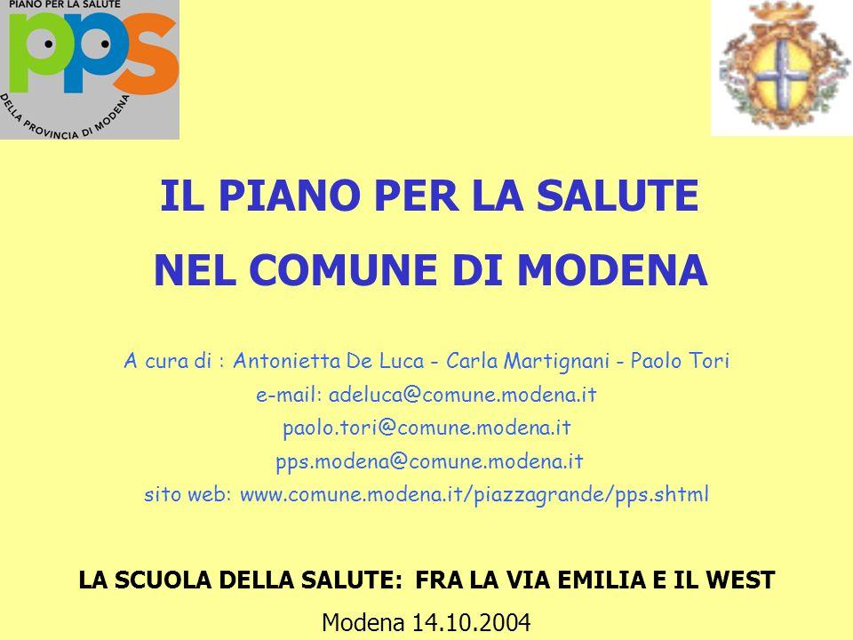 IL PIANO PER LA SALUTE NEL COMUNE DI MODENA A cura di : Antonietta De Luca - Carla Martignani - Paolo Tori e-mail: adeluca@comune.modena.it paolo.tori@comune.modena.it pps.modena@comune.modena.it sito web: www.comune.modena.it/piazzagrande/pps.shtml LA SCUOLA DELLA SALUTE: FRA LA VIA EMILIA E IL WEST Modena 14.10.2004