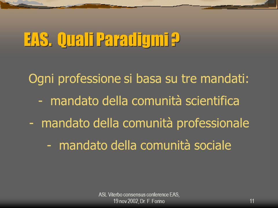 ASL Viterbo consensus conference EAS, 19 nov 2002, Dr. F. Forino11 EAS. Quali Paradigmi ? Ogni professione si basa su tre mandati: - mandato della com