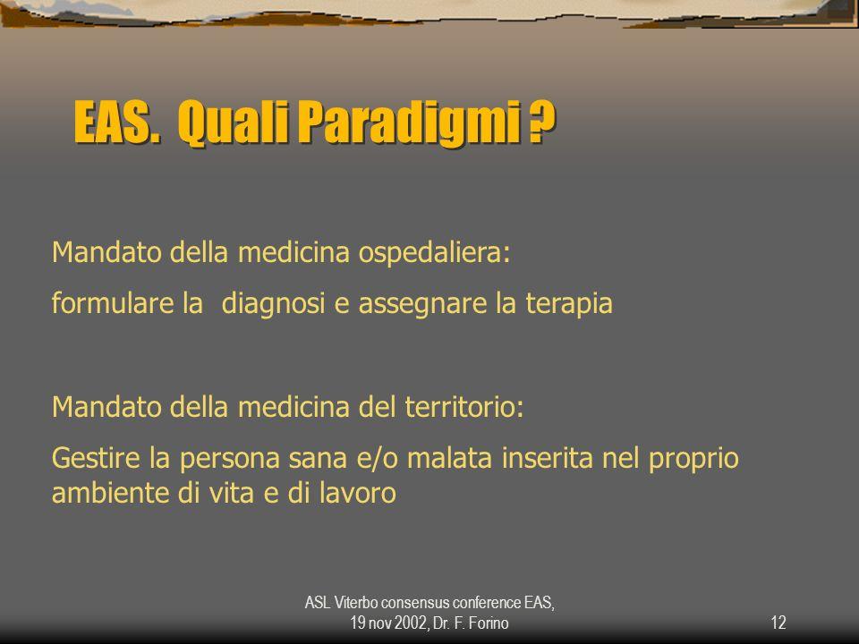 ASL Viterbo consensus conference EAS, 19 nov 2002, Dr. F. Forino12 EAS. Quali Paradigmi ? Mandato della medicina ospedaliera: formulare la diagnosi e