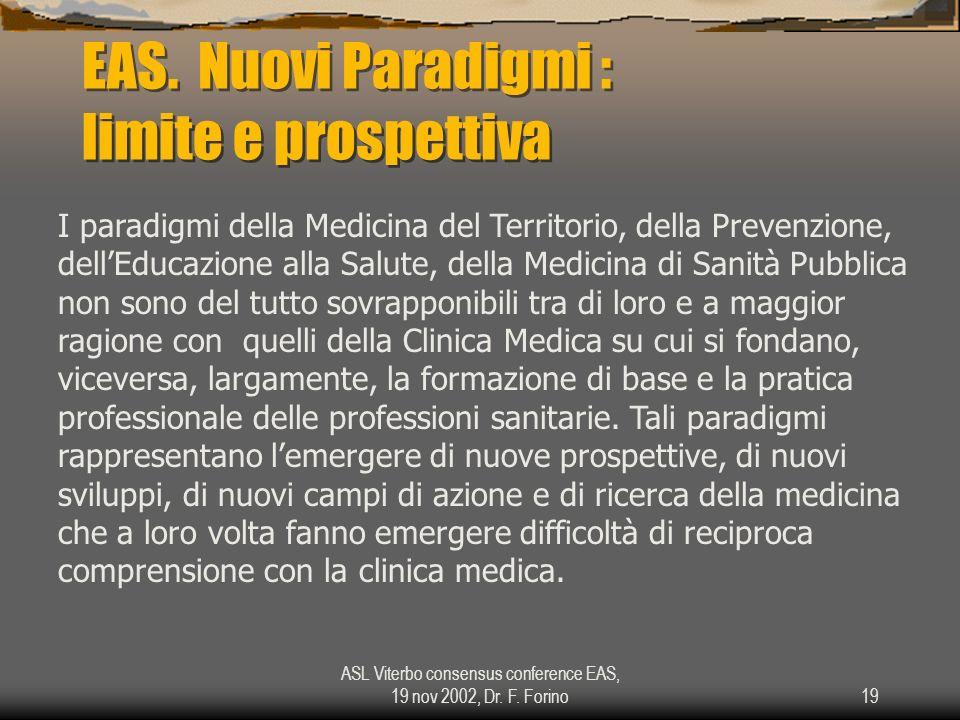 ASL Viterbo consensus conference EAS, 19 nov 2002, Dr. F. Forino19 EAS. Nuovi Paradigmi : limite e prospettiva I paradigmi della Medicina del Territor