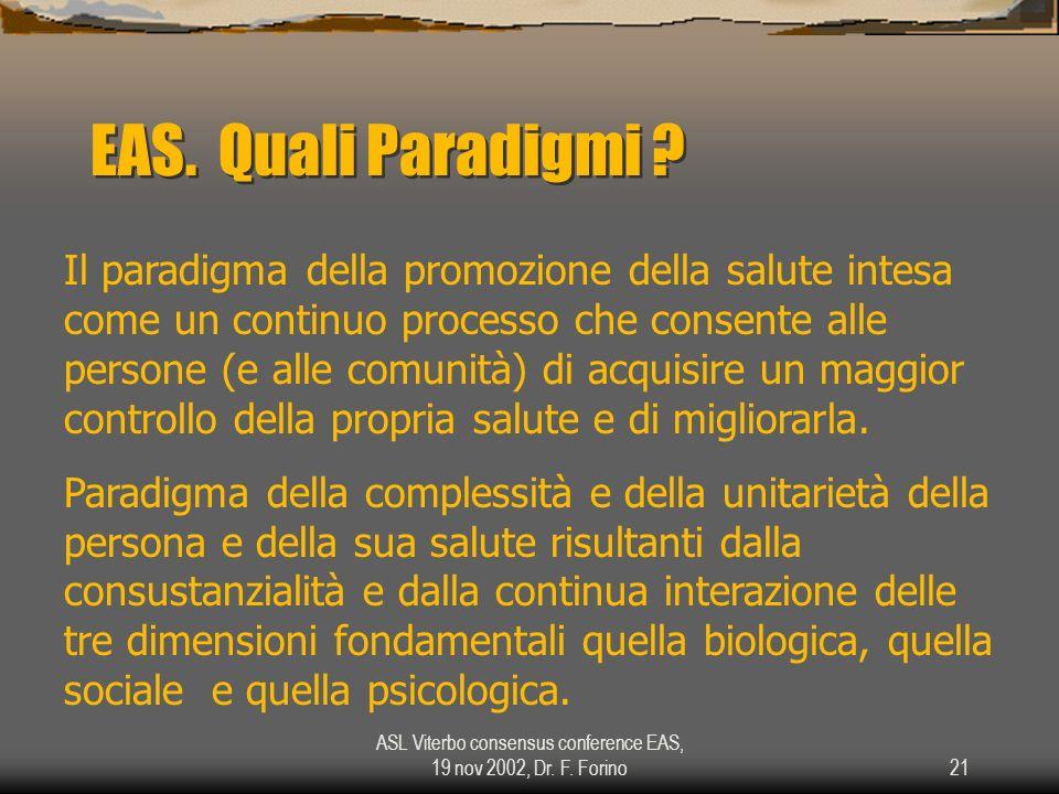 ASL Viterbo consensus conference EAS, 19 nov 2002, Dr. F. Forino21 EAS. Quali Paradigmi ? Il paradigma della promozione della salute intesa come un co