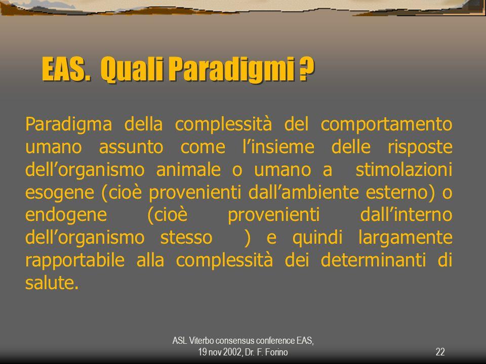 ASL Viterbo consensus conference EAS, 19 nov 2002, Dr. F. Forino22 EAS. Quali Paradigmi ? Paradigma della complessità del comportamento umano assunto