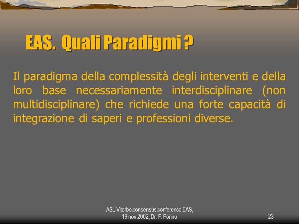 ASL Viterbo consensus conference EAS, 19 nov 2002, Dr. F. Forino23 EAS. Quali Paradigmi ? Il paradigma della complessità degli interventi e della loro