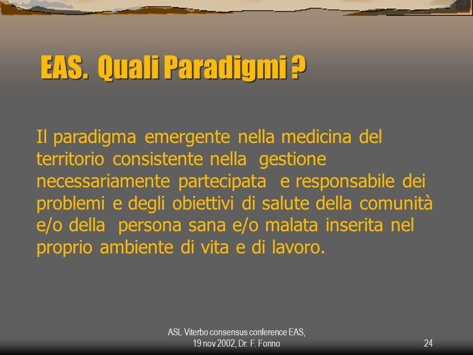 ASL Viterbo consensus conference EAS, 19 nov 2002, Dr. F. Forino24 EAS. Quali Paradigmi ? Il paradigma emergente nella medicina del territorio consist