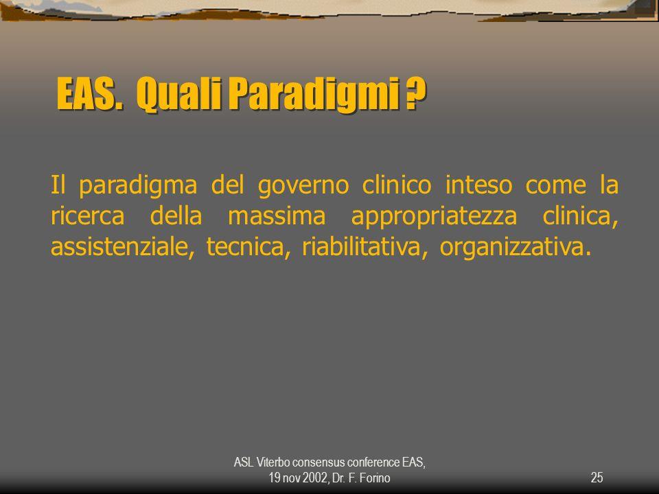 ASL Viterbo consensus conference EAS, 19 nov 2002, Dr. F. Forino25 EAS. Quali Paradigmi ? Il paradigma del governo clinico inteso come la ricerca dell