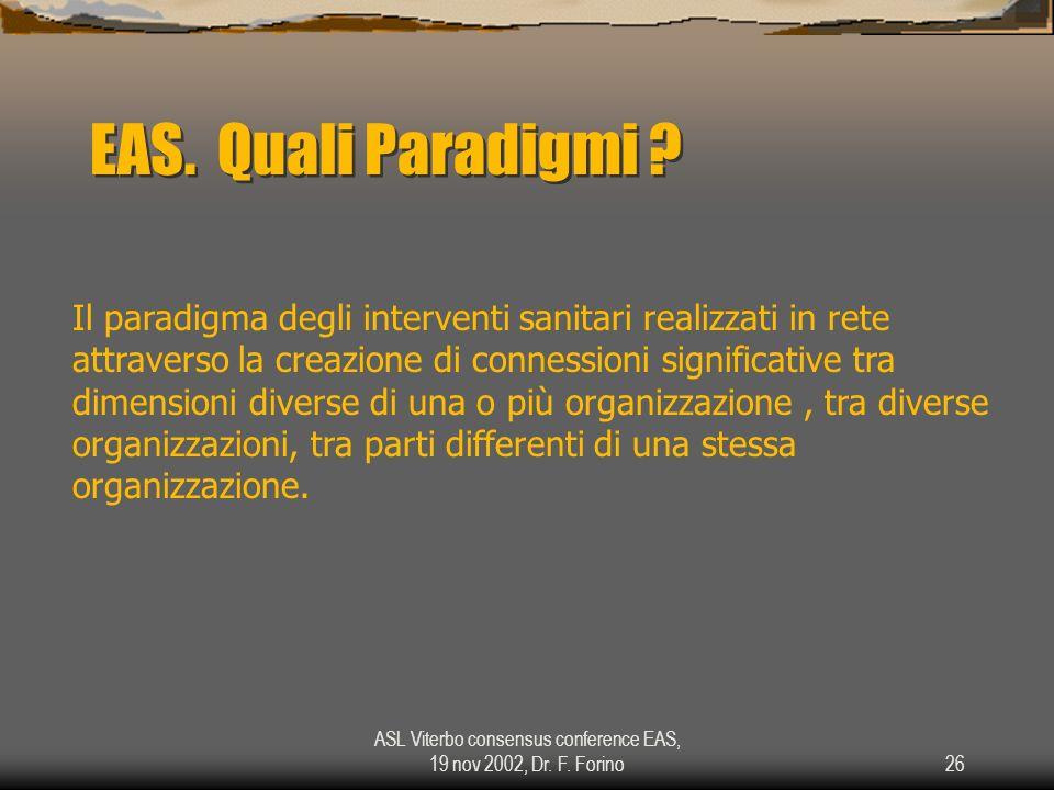 ASL Viterbo consensus conference EAS, 19 nov 2002, Dr. F. Forino26 EAS. Quali Paradigmi ? Il paradigma degli interventi sanitari realizzati in rete at