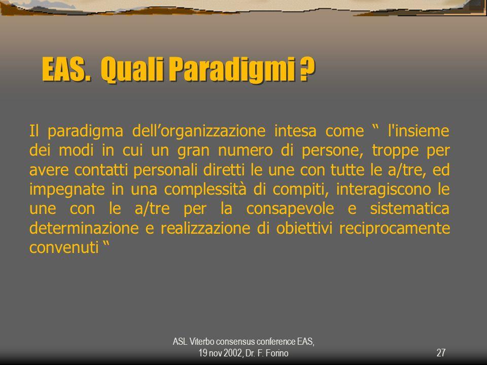 ASL Viterbo consensus conference EAS, 19 nov 2002, Dr. F. Forino27 EAS. Quali Paradigmi ? Il paradigma dellorganizzazione intesa come l'insieme dei mo