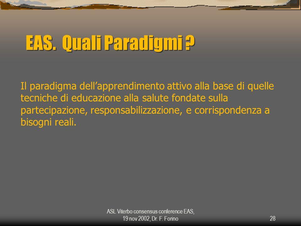 ASL Viterbo consensus conference EAS, 19 nov 2002, Dr. F. Forino28 EAS. Quali Paradigmi ? Il paradigma dellapprendimento attivo alla base di quelle te