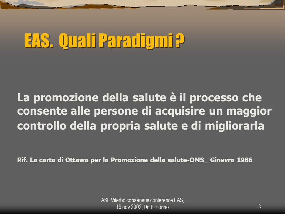 ASL Viterbo consensus conference EAS, 19 nov 2002, Dr. F. Forino3 EAS. Quali Paradigmi ? La promozione della salute è il processo che consente alle pe