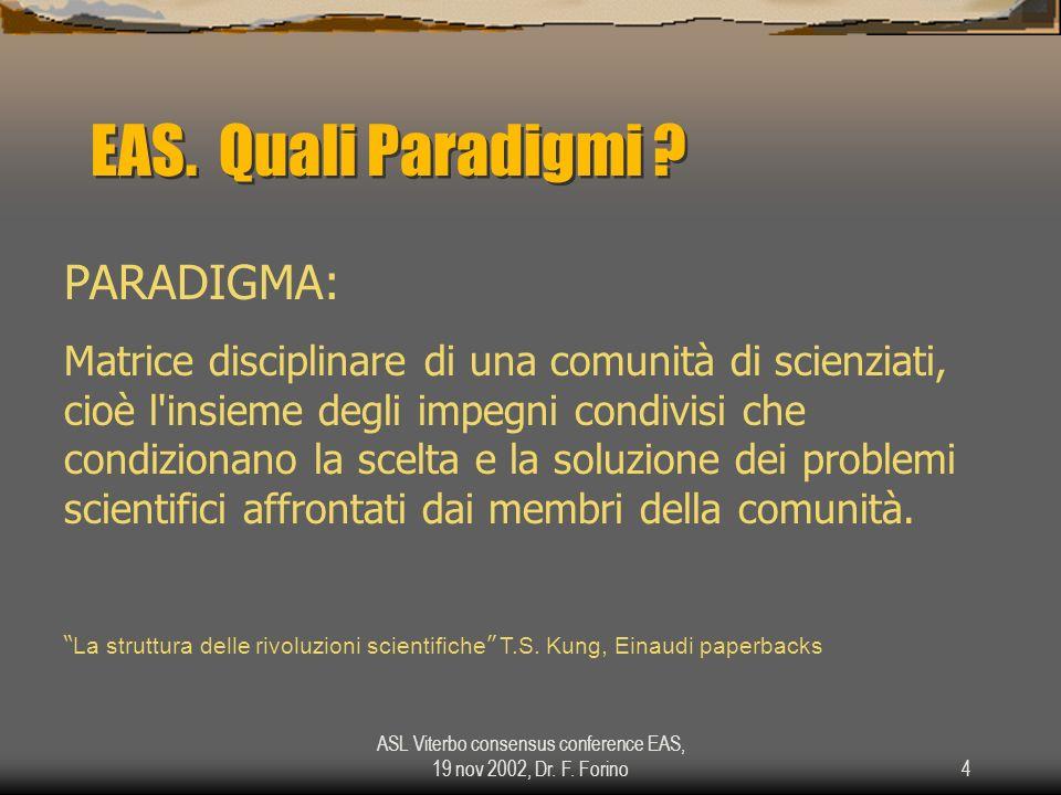 ASL Viterbo consensus conference EAS, 19 nov 2002, Dr. F. Forino4 EAS. Quali Paradigmi ? PARADIGMA: Matrice disciplinare di una comunità di scienziati