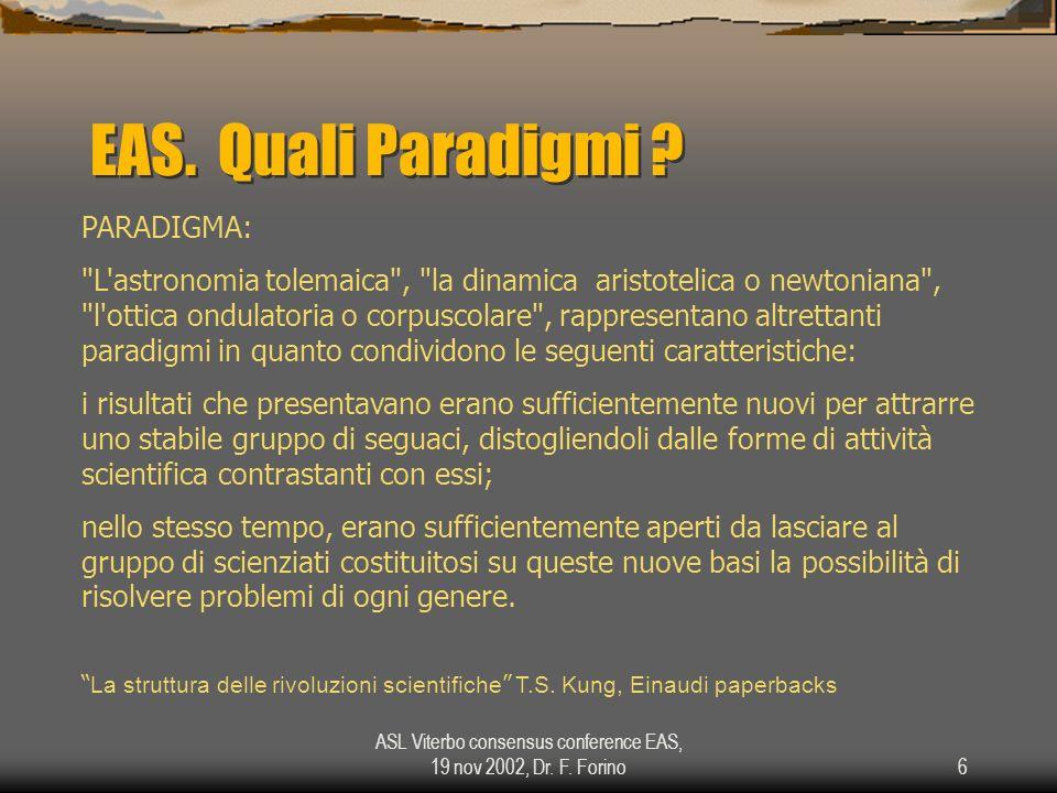 ASL Viterbo consensus conference EAS, 19 nov 2002, Dr. F. Forino6 EAS. Quali Paradigmi ? PARADIGMA: