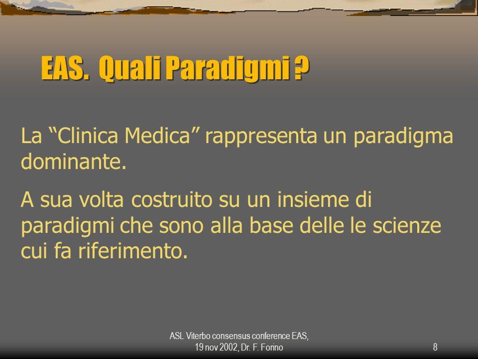 ASL Viterbo consensus conference EAS, 19 nov 2002, Dr. F. Forino8 EAS. Quali Paradigmi ? La Clinica Medica rappresenta un paradigma dominante. A sua v