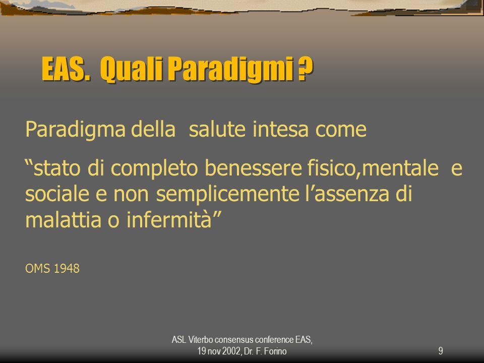 ASL Viterbo consensus conference EAS, 19 nov 2002, Dr. F. Forino9 EAS. Quali Paradigmi ? Paradigma della salute intesa come stato di completo benesser