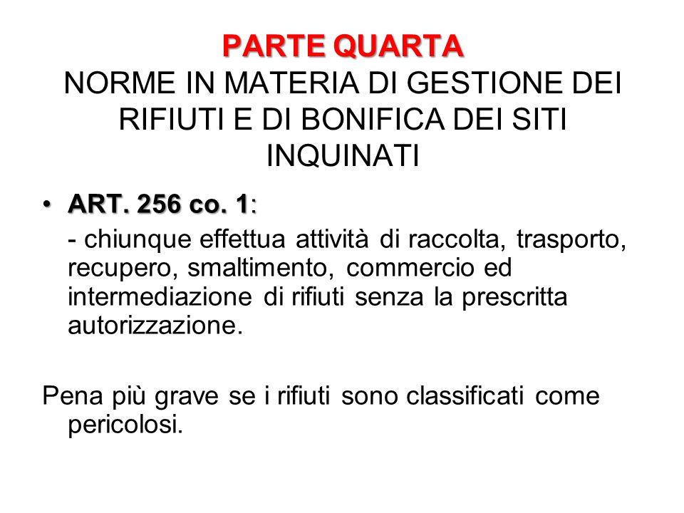 PARTE QUARTA PARTE QUARTA NORME IN MATERIA DI GESTIONE DEI RIFIUTI E DI BONIFICA DEI SITI INQUINATI ART. 256 co. 1:ART. 256 co. 1: - chiunque effettua