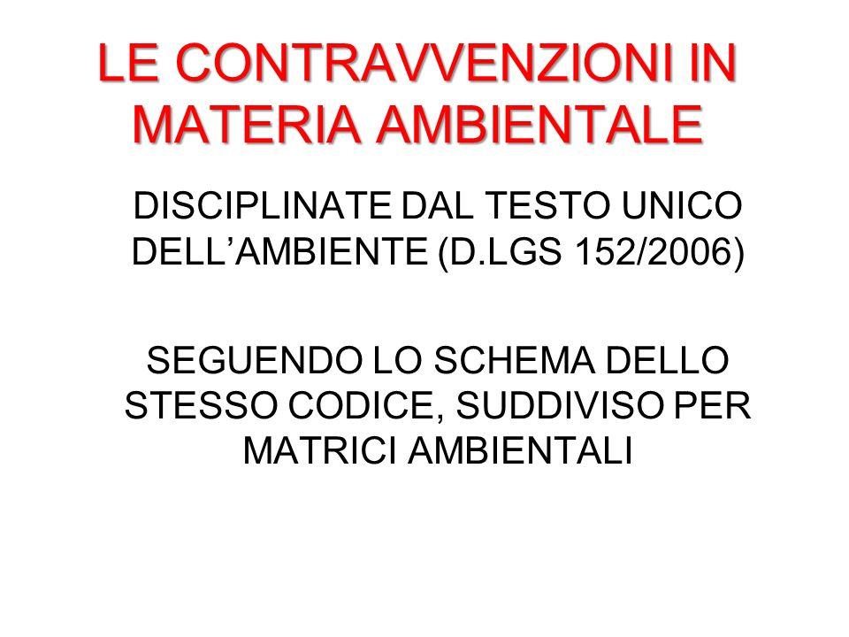LE CONTRAVVENZIONI IN MATERIA AMBIENTALE DISCIPLINATE DAL TESTO UNICO DELLAMBIENTE (D.LGS 152/2006) SEGUENDO LO SCHEMA DELLO STESSO CODICE, SUDDIVISO