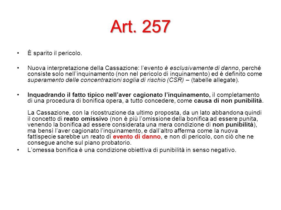 Art. 257 È sparito il pericolo. Nuova interpretazione della Cassazione: levento è esclusivamente di danno, perché consiste solo nellinquinamento (non