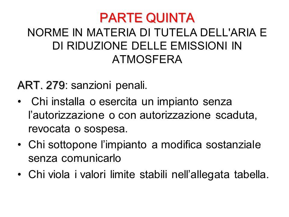 PARTE QUINTA PARTE QUINTA NORME IN MATERIA DI TUTELA DELL'ARIA E DI RIDUZIONE DELLE EMISSIONI IN ATMOSFERA ART. 279 ART. 279: sanzioni penali. Chi ins