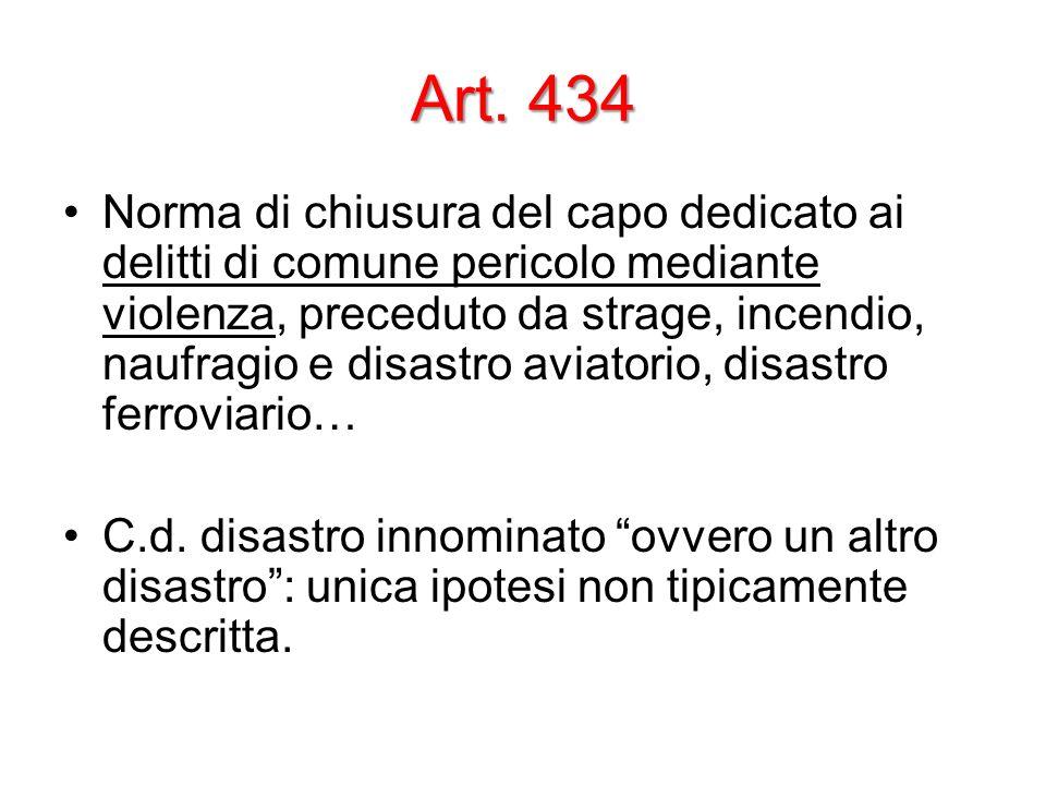 Art. 434 Norma di chiusura del capo dedicato ai delitti di comune pericolo mediante violenza, preceduto da strage, incendio, naufragio e disastro avia