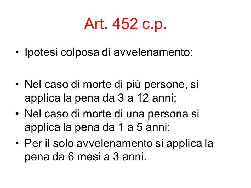 Art. 452 c.p. Ipotesi colposa di avvelenamento: Nel caso di morte di più persone, si applica la pena da 3 a 12 anni; Nel caso di morte di una persona