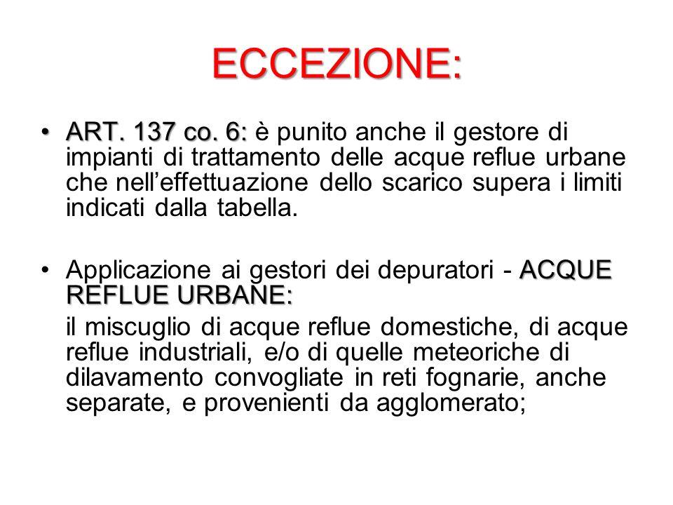 ECCEZIONE: ART. 137 co. 6:ART. 137 co. 6: è punito anche il gestore di impianti di trattamento delle acque reflue urbane che nelleffettuazione dello s