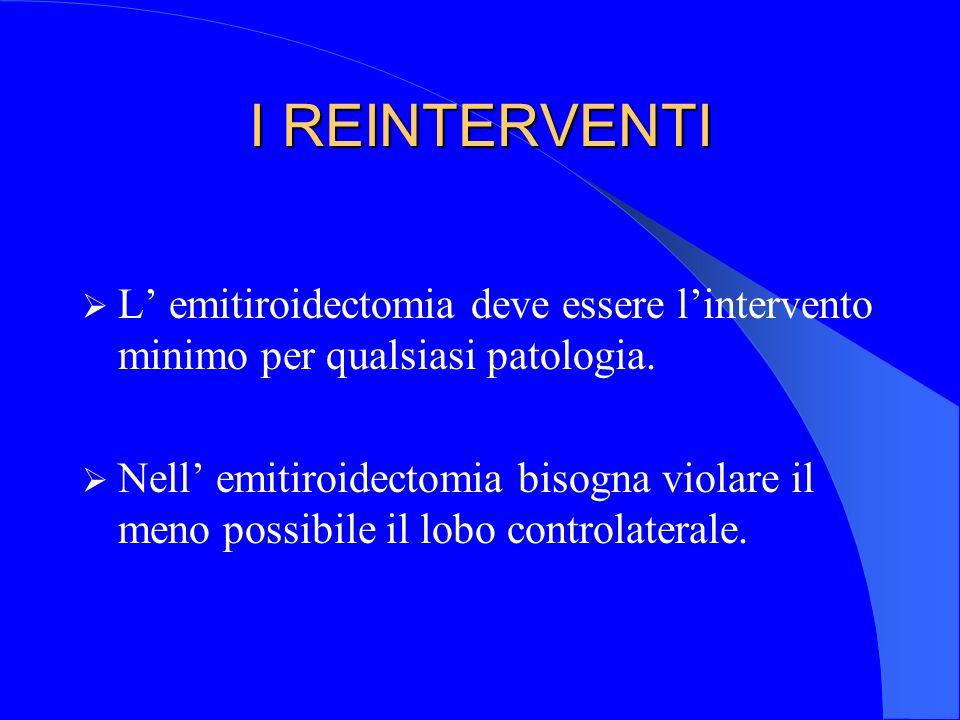 I REINTERVENTI L emitiroidectomia deve essere lintervento minimo per qualsiasi patologia. Nell emitiroidectomia bisogna violare il meno possibile il l
