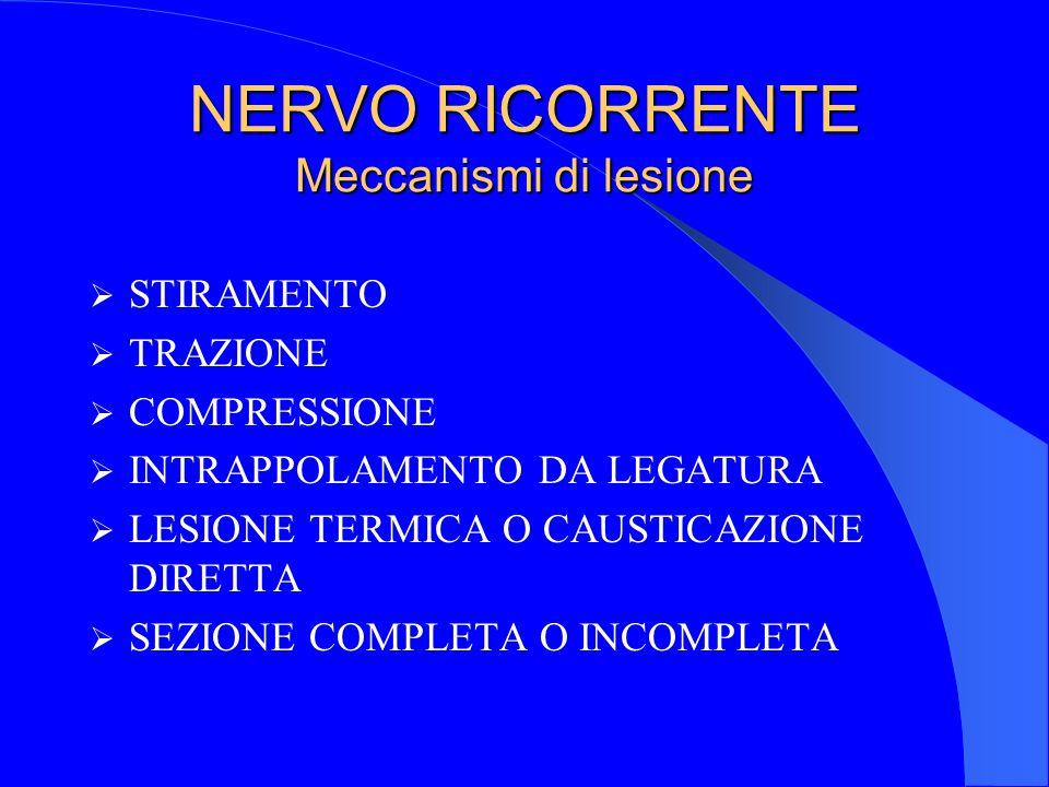 NERVO RICORRENTE Meccanismi di lesione STIRAMENTO TRAZIONE COMPRESSIONE INTRAPPOLAMENTO DA LEGATURA LESIONE TERMICA O CAUSTICAZIONE DIRETTA SEZIONE CO