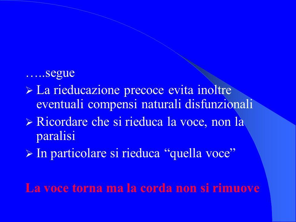 …..segue La rieducazione precoce evita inoltre eventuali compensi naturali disfunzionali Ricordare che si rieduca la voce, non la paralisi In particol