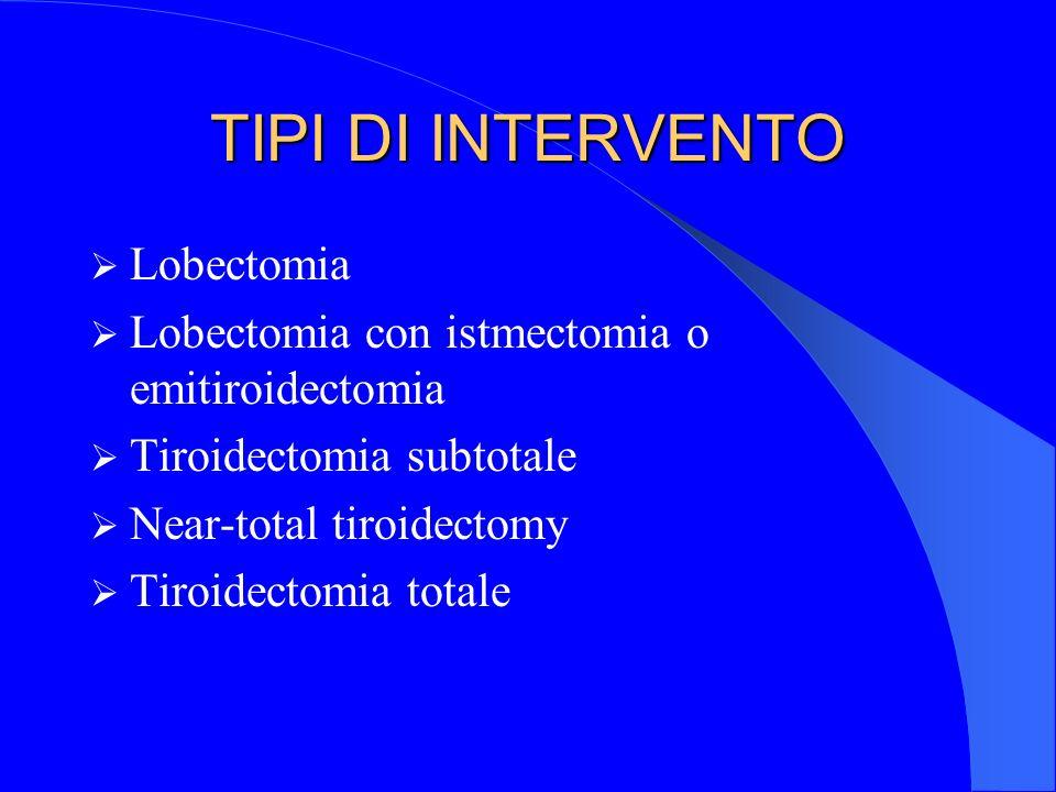 Tiroidectomia totale VANTAGGI Intervento radicale ab-inizio Buon controllo postoperatorio e terapia radiometabolica per 2 motivi: 1) Elevata captazione del radioiodio dalle metastasi e micrometastasi 2) Mancanza di tessuto tiroideo residuo che secerne ormoni tiroidei che deprimono il TSH ipofisario, riducendo la captazione del radioiodio Agevole follow-up oncologico con TBG Trattamento radicale anche in neoplasia multicentrica ( il 17-80% dei tumori sono multicentrici ) Previene la trasformazione dei DTC in Ca.