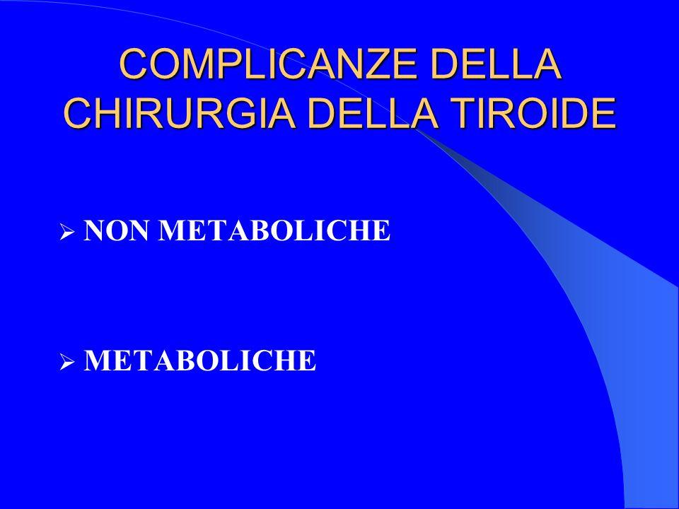 COMPLICANZE DELLA CHIRURGIA DELLA TIROIDE NON METABOLICHE METABOLICHE