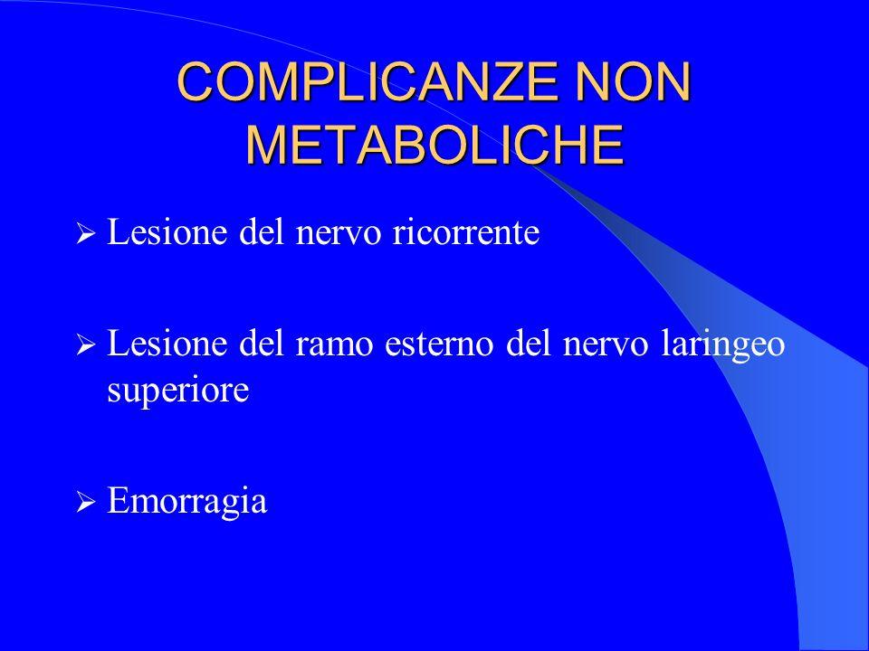 COMPLICANZE NON METABOLICHE Lesione del nervo ricorrente Lesione del ramo esterno del nervo laringeo superiore Emorragia