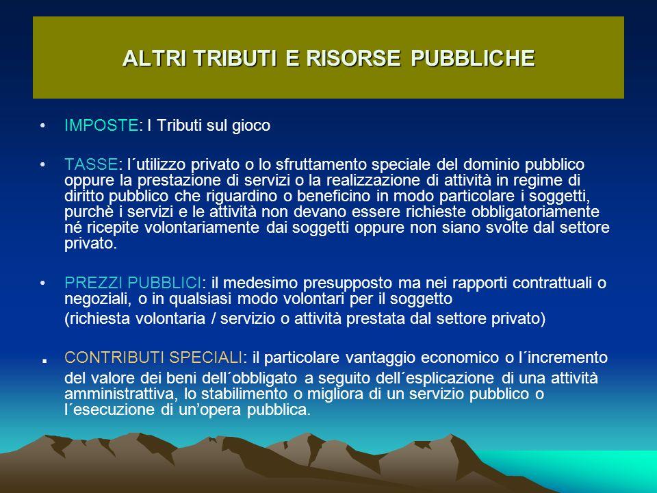 ALTRI TRIBUTI E RISORSE PUBBLICHE IMPOSTE: I Tributi sul gioco TASSE: l´utilizzo privato o lo sfruttamento speciale del dominio pubblico oppure la pre