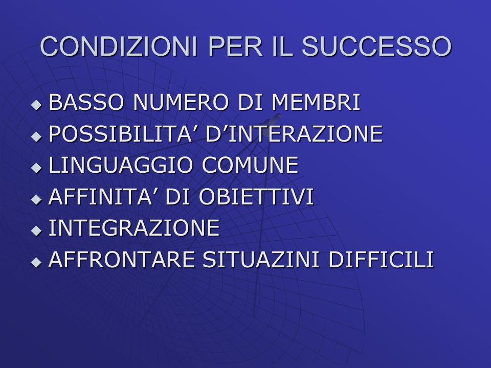 CONDIZIONI PER IL SUCCESSO BASSO NUMERO DI MEMBRI BASSO NUMERO DI MEMBRI POSSIBILITA DINTERAZIONE POSSIBILITA DINTERAZIONE LINGUAGGIO COMUNE LINGUAGGI