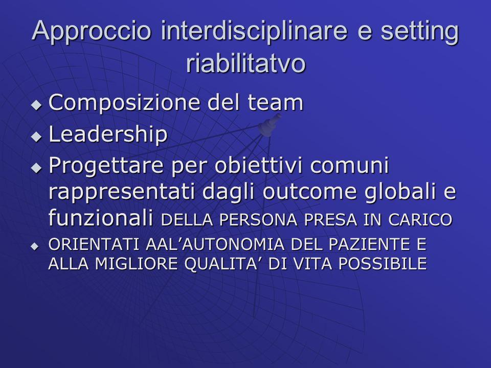Approccio interdisciplinare e setting riabilitatvo Composizione del team Composizione del team Leadership Leadership Progettare per obiettivi comuni r