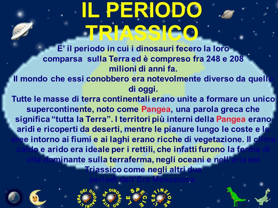IL PERIODO GIURASSICO Il Giurassico, secondo dei tre periodi in cui è divisa l era Mesozoica, durò circa 64 milioni di anni.