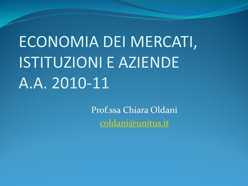 ECONOMIA DEI MERCATI, ISTITUZIONI E AZIENDE A.A. 2010-11 Prof.ssa Chiara Oldani coldani@unitus.it