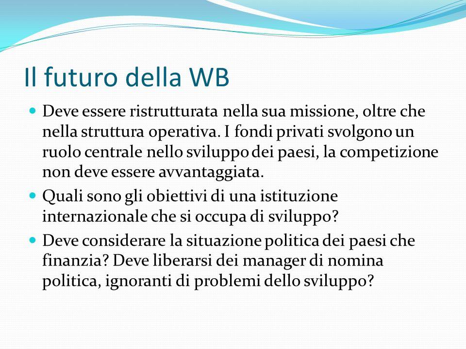 Il futuro della WB Deve essere ristrutturata nella sua missione, oltre che nella struttura operativa. I fondi privati svolgono un ruolo centrale nello