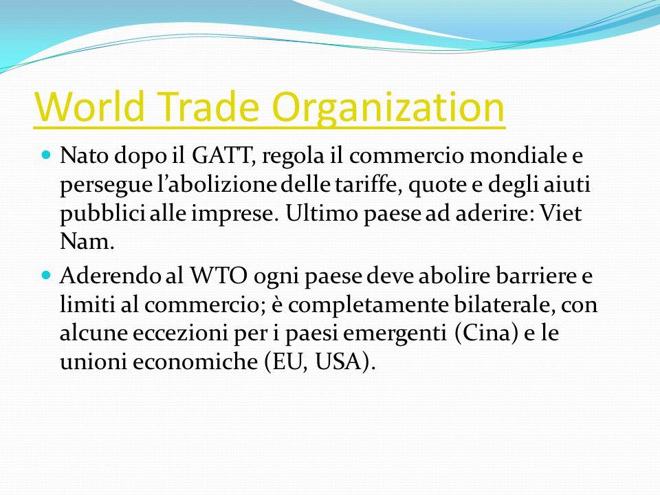 World Trade Organization Nato dopo il GATT, regola il commercio mondiale e persegue labolizione delle tariffe, quote e degli aiuti pubblici alle impre